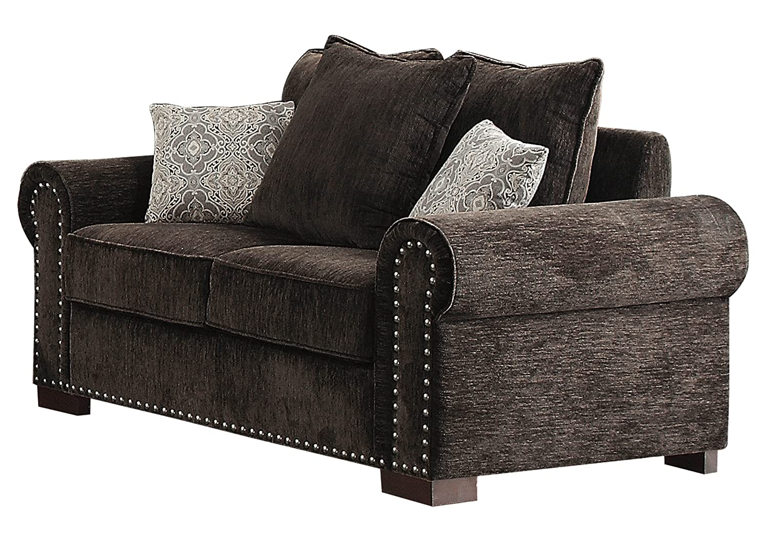 Homelegance Wandal Rolled Arm Scatter Back Pillow Loveseat with Frontal Nailheads Trim - Chocolate
