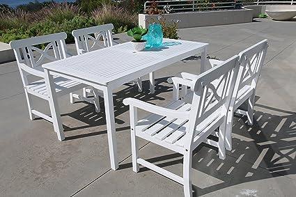 vifah v1336set2Bradley mesa rectangular y sillón exterior conjunto de comedor de madera
