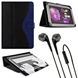 Royal Blue Vangoddy Soho Standing Portfolio Case for Lenovo IdeaTab S6000 10.1 inch Tablet + Black Vangoddy Headphones (Color: Black)