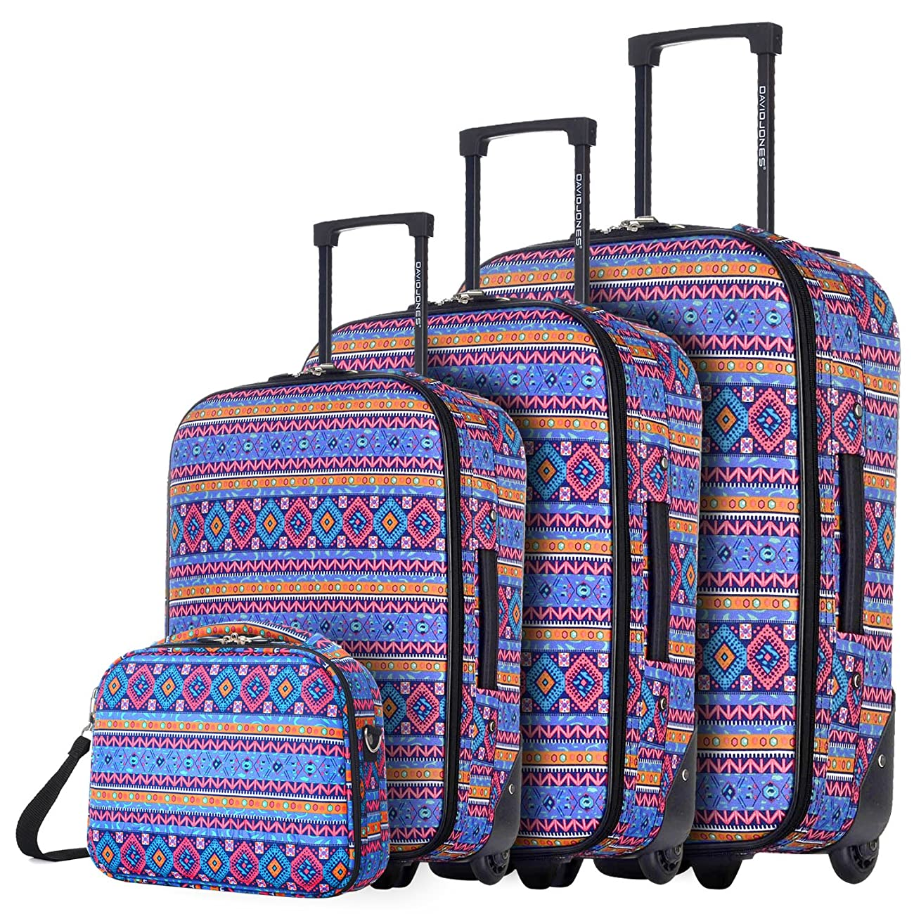 DAVIDJONES Vintage Print 4 Piece Luggage Set 0
