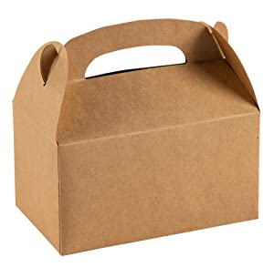 Treat Boxes - 24-Pack Paper Party Favor Boxes, Brown Kraft Goodie Boxes for Birthdays and Events, 2 Dozen Party Gable Boxes, 6 x 3.3 x 3.6 Inches (Color: Kraft)