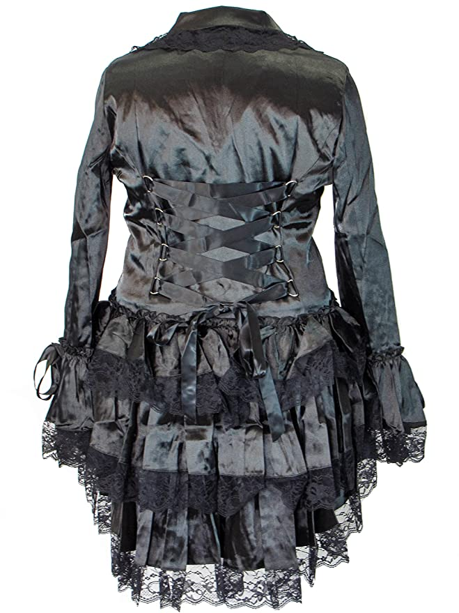 Steampunk Tops | Blouses, Vests, Crops, Shrugs Plus Size Victorian Steampunk Gothic Punk Corset Black Satin Ruffled Tail Jacket $73.95 AT vintagedancer.com