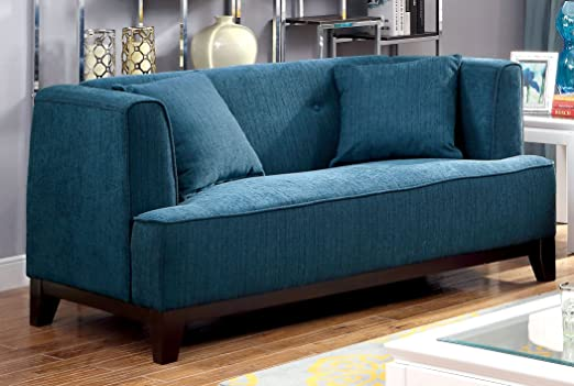 Furniture of America Elsa Neo-Retro Love Seat, Teal