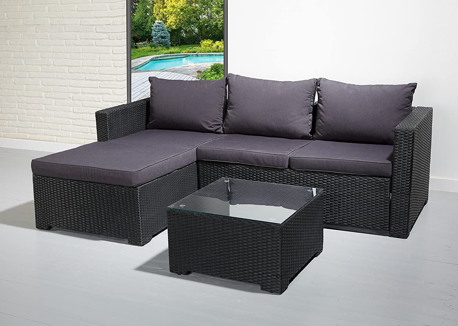 poly rattan essgruppe sitzgruppe schwarz lounge set garnitur gartenm bel g nstig kaufen. Black Bedroom Furniture Sets. Home Design Ideas