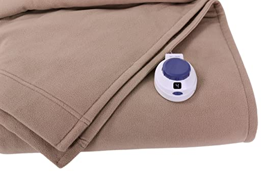 Soft Heat Luxury Micro-Fleece Low-Voltage Electric Heated Twin Size Blanket, Beige