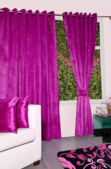 Buy ACASA designed Velvet Door Curtains (Set of 2 WITH 2 Cushion ...