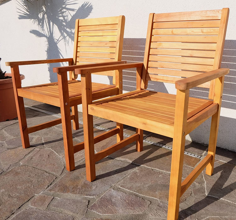 2x Design Gartensessel Gartenstuhl Sessel Holzsessel Gartenmöbel Holz Eukalyptus w.Teak Modell: 'SARIA-EU2' von AS-S