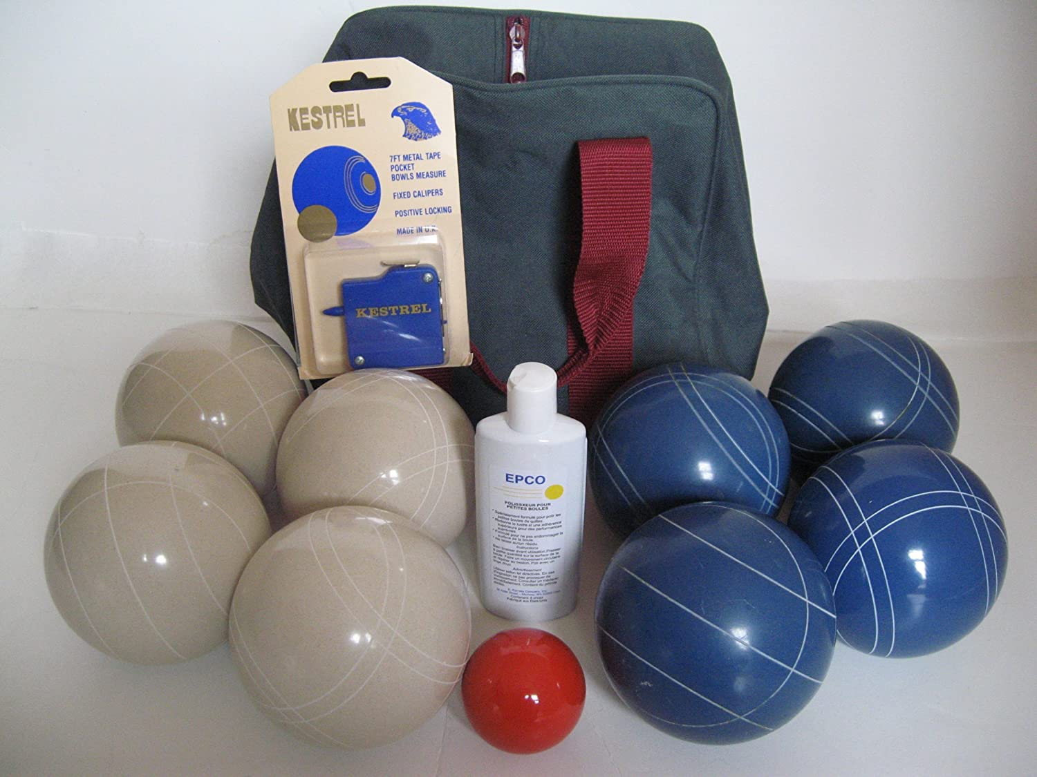 Premium Quality Basic EPCO Bocce package – 107mm White and Blue balls, qualit… bestellen