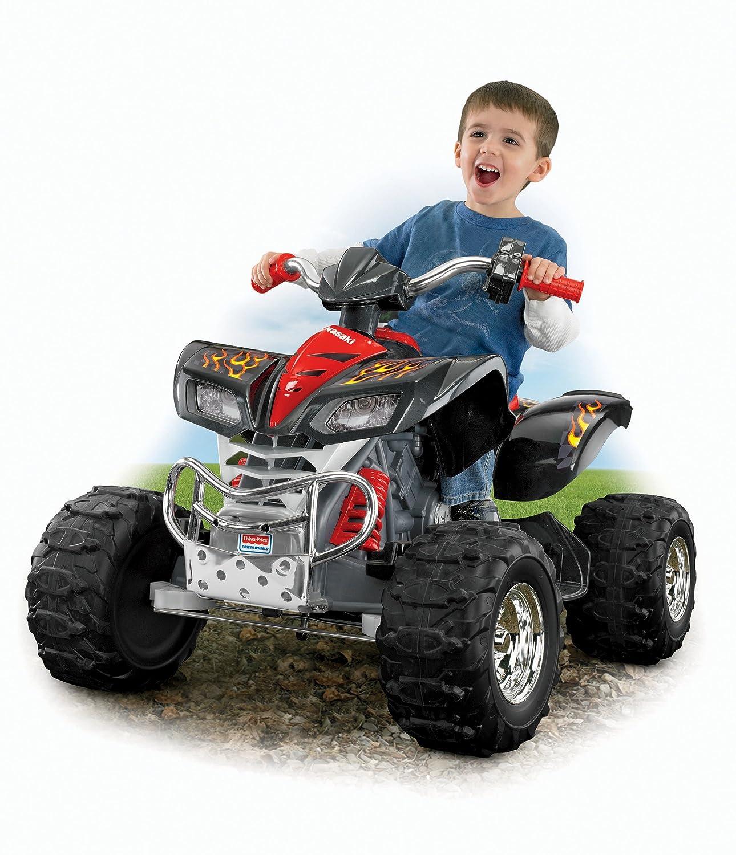 Power Wheels Four Wheeler : Kids power wheels kawasaki kfx monster traction atv quad