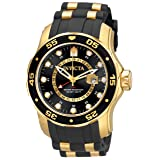 Invicta Men's 6991 Pro Diver Collection GMT 18k Gold-Plated Stainless Steel Watch with Black Band (Color: Black)