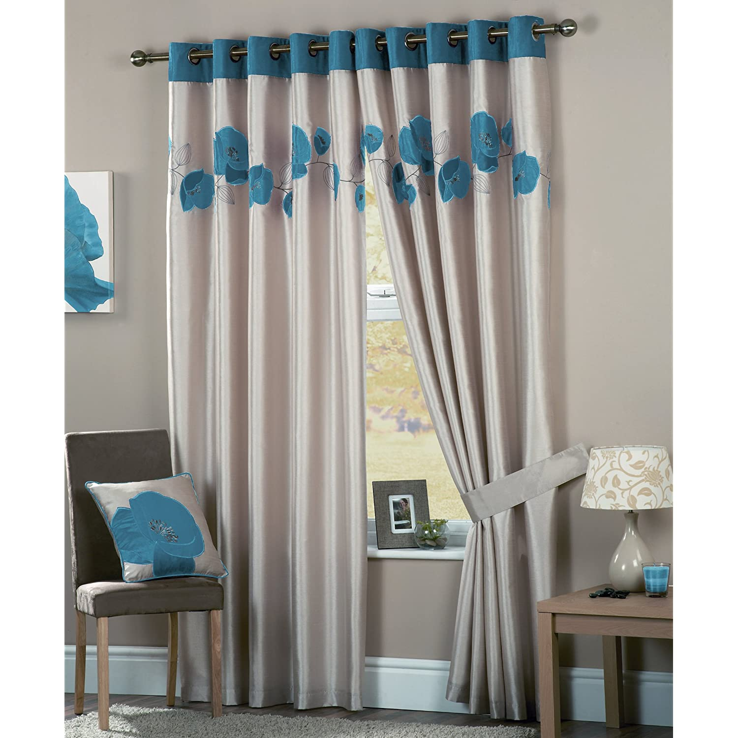 Eyelet Bedroom Curtains DANIELLE EYELET LINED TEAL BEDROOM LIVING ROOM CURTAINS 66X90cm
