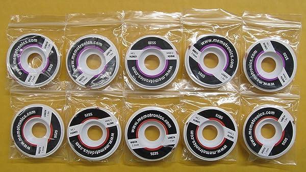 10 Spools of Desoldering Braid (Copper Solder Wick) with Flux, 1.5m (Approx. 5 ft) per Spool, 5 Spools @ 2mm Wide Plus 5 Spools @ 2.5mm Wide