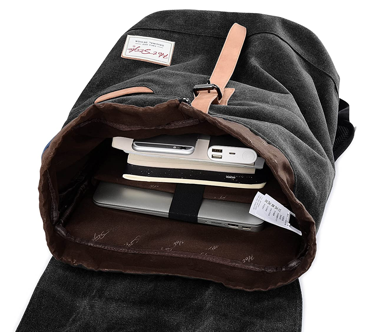 Vintage Canvas Backpack - HotStyle Waterpoof Travel Rucksack Fits 15.6 inch Laptop - Black 3