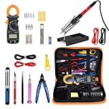 Soldering Iron Kit with Digital Clamp Multimeter,Pancellent 60W Adjustable Temperature Welding Tool,5-in-1 Screwdrivers,5pcs Soldering Iron Tips,Solder Sucker,Wire Cutter,Tweezers,Soldering Iron Stand