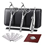 ELEHOT Professional Hair Cutting Scissors Barber Scissors Kit Hair Thinning Shears Set -Stainless Steel Scissors/Shears 6 inch (17cm) with Black Storage Case (Middle) (Tamaño: Middle)