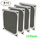 120mm Computer Fan Filter Grills with Screws, Ultra Fine Aluminum Mesh, Silver Color - 4 Pack (Color: Silver)