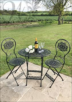 Nero stile vintage Garden set di tavolo e sedie in ghisa