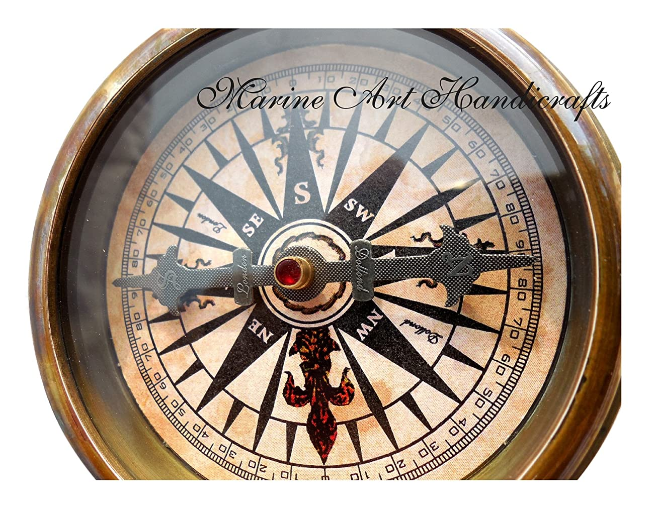 ''Robert Frost Poem'' Engraved Brass Compass with Embossed Needle & with Leather Case. C-3241 1
