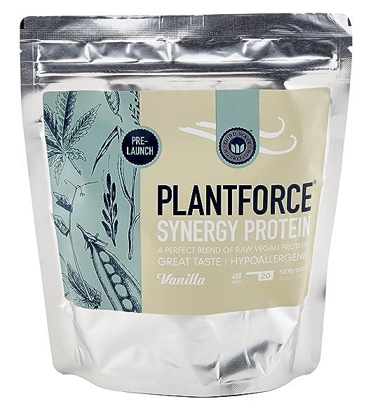 Plantforce Synergy Vanille - Vegane naturliche Proteine, allergenfrei und glutenfrei, enthält alle essentiellen Aminosäuren