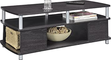 Wood Coffee Table with Storage Black - Tables Convenience Concepts Set Living Room Office Furniture - Sale!