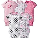 Gerber Baby Girls' 5 Pack Onesies, Elephants/Flowers, 0-3 Months