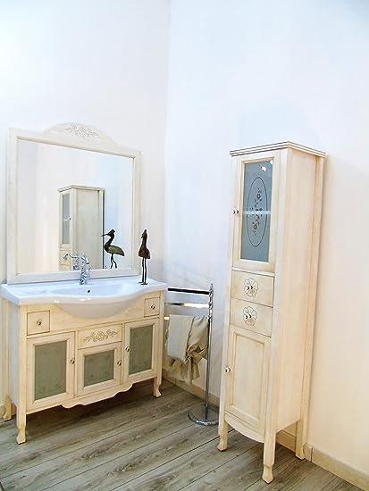 Arredo bagno shabby chic con colonna decorata mobilie bagno contemporaneo massello