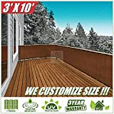 ColourTree 3' x 10' Brown Balcony Railing Shade Fabric Deck Fence Privacy Screen Tarp Plant Greenhouse Netting Mesh Cloth - Commercial Grade 170 GSM Heavy Duty 3 Years Warranty CUSTOM SIZE AVAILABLE