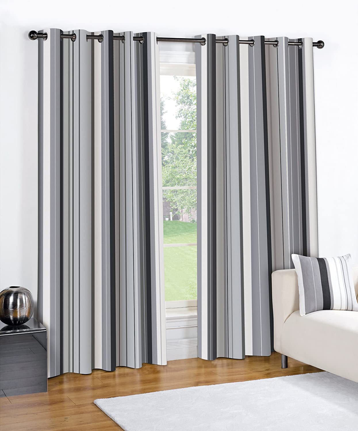 Details about MODERN STRIPED WENTWORTH CHARCOAL GREY READY MADE LINED ...
