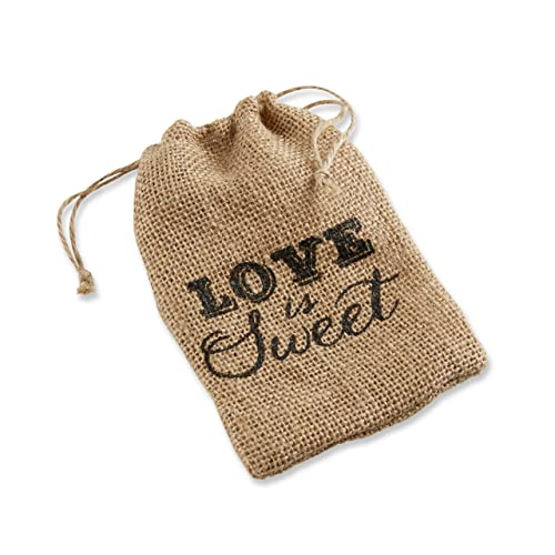 Kate Aspen Love is Sweet Burlap Drawstring Favor Bag Set of 12