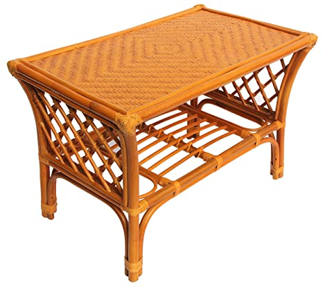 Rectangular Coffee Table with Glass Top Wicker Eco Rattan Handmade Color Cognac