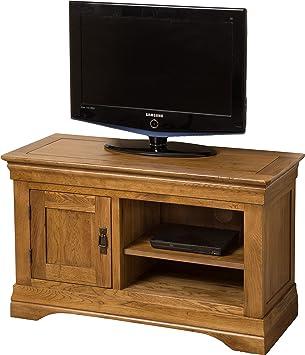 Hermosa Knightsbridge-Mueble de TV con Acabado barnizado, madera de roble maciza, marrón, pequeño, 100x 43x 60cm