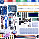 Quimat UNO R3 Project Super Starter Kit with Free Tutorial for Arduino,Complete Robotics Sensor Kit with Breadboard,Protoboard,Nano Board,5V Relay,Power Supply Module,Stepper Motor, 9V DC Battery
