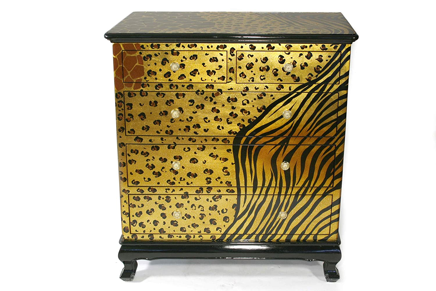 Casa Collection / Art for living by Jänig 08135 Exclusive Kommode mit 5 Schubfächern, 107 x 95 x 45 cm, Motiv Leopard, Griffe in kristallglasoptik