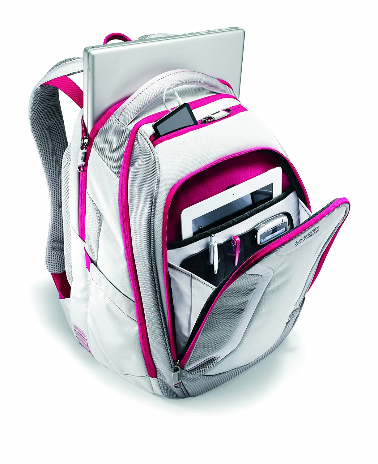 Samsonite Luggage Vizair Laptop Backpack, Silver/Ultra Pink