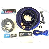 Oversized 1/0 Ga CCA AWG Amp Kit Twisted RCA Blue Black Complete Sky High