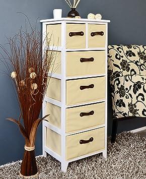 landhaus kommode schrank 105 cm h he wei beige badregal hochregal mit 6 k rben in braun db66. Black Bedroom Furniture Sets. Home Design Ideas