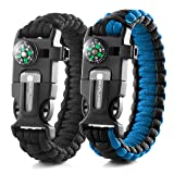 X-Plore Gear Emergency Paracord Bracelets | Set Of 2| The ULTIMATE Tactical Survival Gear| Flint Fire Starter, Whistle, Compass & Scraper/Knife| BEST Wilderness Survival-Kit - Black(R)/Blue(R)