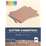 Bright Creations Glitter Cardstock Paper 24 Pack - DIY Glitter Craft Paper Rose Gold Color - 11 x 8.5 inches (Color: Rose Gold)