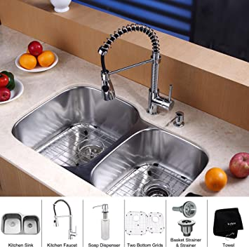 Kraus KBU24-KPF1612-KSD30CH 32 inch Undermount Double Bowl Stainless Steel Kitchen Sink with Chrome Kitchen Faucet and Soap Dispenser