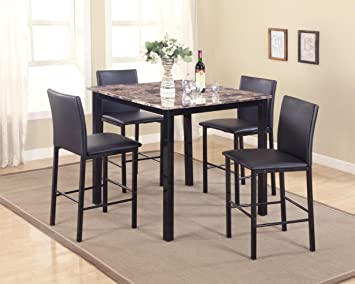 The Room Style Contemporary 5 Piece Counter Height Table Dining Set, w/ Faux Marble Top (Black)
