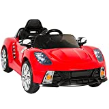 Best Choice Products 12V Kids Battery Powered Remote Control Electric RC Ride-On Car w/ 2 Speeds, LED Lights, MP3, AUX - Red (Color: Red)