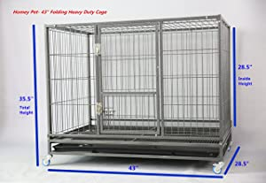 Homey Pet 43 Stackable or Non-Stackable Heavy Duty Cage W/Feeding Door, Casters and Tray (Stackable Economic) (Color: black)