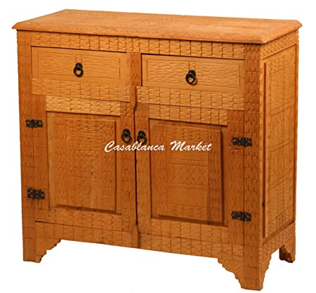 Engraved Berber Design Cedar Wood Cabinet
