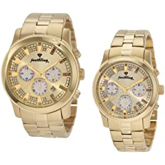 JBW Mens JB6218-E.JB6217-E Gold-Tone Chronograph Diamond Gift Set Watch