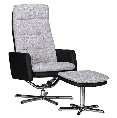Wohnling WL1.327 TV Sessel Relax Fernsehsessel mit Fußauflage Relaxsessel Kunstleder / Stoff, schwarz