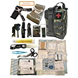 Fortis EDC Survival First Aid Kit Molle Bag Tactical IFAK for Car Travel Camping Hiking RV and Home - with Israeli Bandage 4 inch Trauma and Multi-Tool - 254 Piece Includes Emergency CPR Mask (Color: Digital Camo Green/Grey)