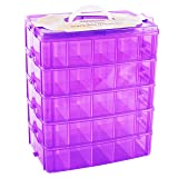 LifeSmart USA Stackable Storage Container Purple - 50 Adjustable Compartments - Store More Than All Other Cases - Lego Dimensions - Shopkins - Littlest Pet Shop - Arts and Crafts - and More! (Color: Purple, Tamaño: Standard)