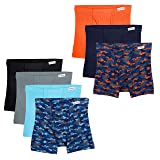 Fruit of the Loom Boys' Big Boxer Brief, Exposed, Assorted Color Prints and Solids with Fabric Covered Waistband, Medium