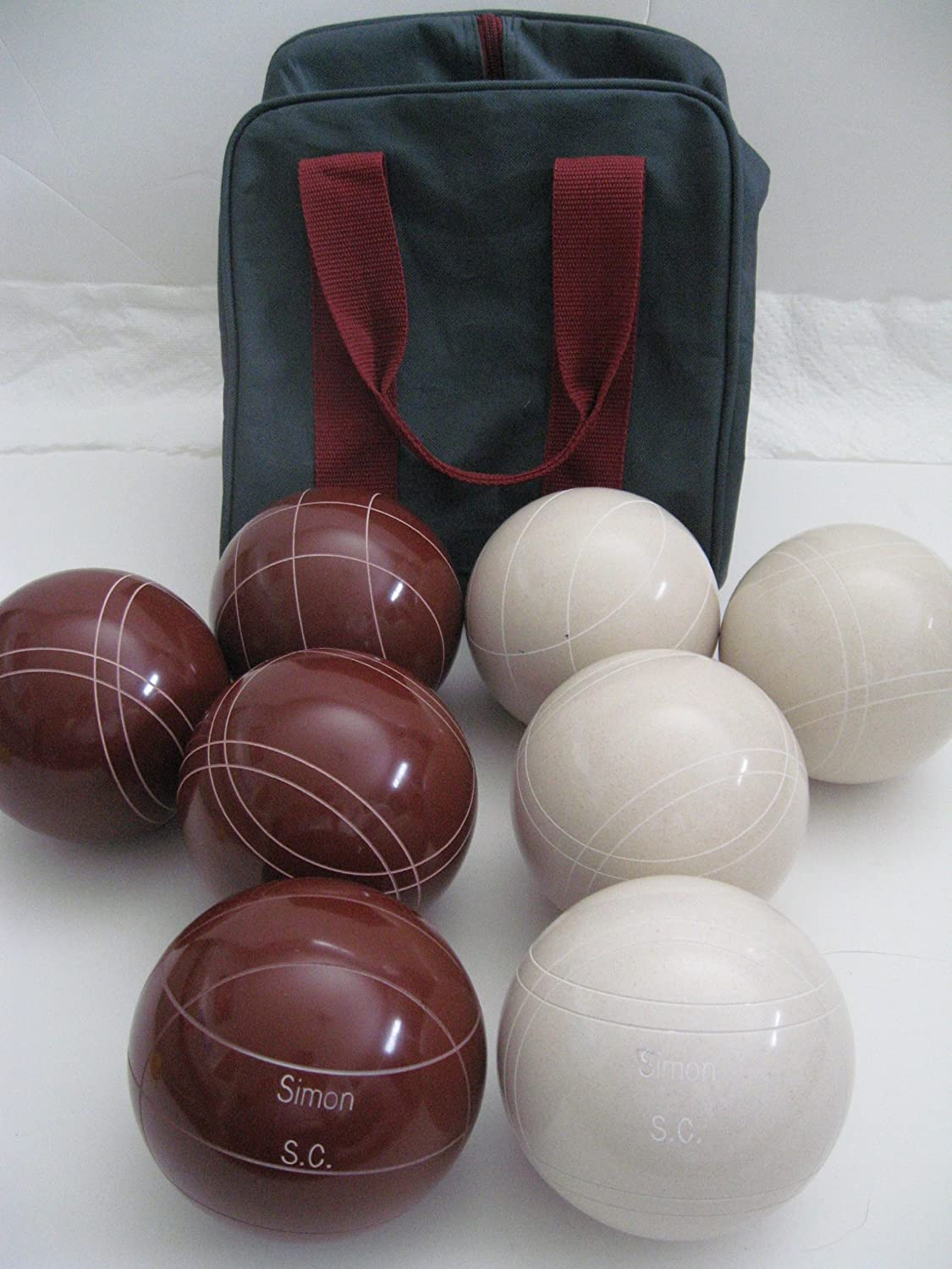 Premium Quality Engraved EPCO Bocce package - 107mm EPCO Red and White balls ...