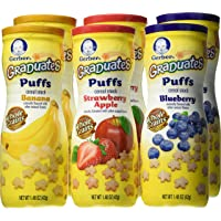 6-Pack Gerber Graduates Puffs Cereal Snack Variety Pack